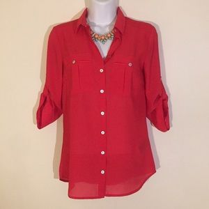 Raspberry Button Up Blouse